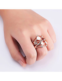 Fashion Rose Gold Diamond Decorated Irregular Shape Simple Ring
