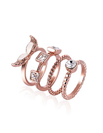 Fashion Rose Gold Square Shape Diamond Decorated Pure Color Simple Ring