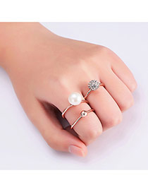 Fashion Rose Gold Pearls&round Ball Decorated Pure Color Ring (3pcs)