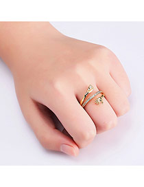 Personalized Gold Color Palm&foot Decorated Pure Color Simple Ring