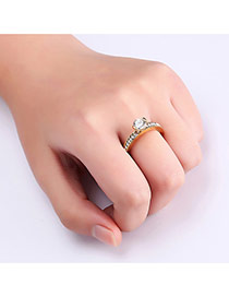 Fashion Gold Color Big Diamond Decorated Color Matching Simple Ring