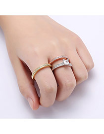 Fashion Multi-color Square Shape Diamond Decorated Color Matching Ring (3pcs)