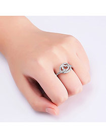 Fashion Silver Color Heart Shape Decorated Hollow Out Pure Color Ring