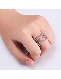 Fashion Silver Color Pure Color Decorated Irregular Shape Opening Ring