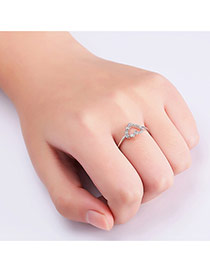 Sweet Silver Color Heart Shape Decorated Hollow Out Pure Color Ring