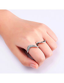 Fashion Silver Color Diamond Decorated S Shape Pure Color Ring (2pcs)