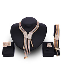 Fashion Gold Color Tassel Pendant Decorated Color Matching Jewelry Sets (4pcs)