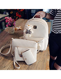 Trendy Beige Bear Decorated Pure Color Simple Backpack(4pcs)