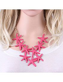 Fashion Red Starfish Decorated Pure Color Simple Necklace