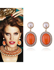 Fashion Orange Oval Shape Gemstone Decorated Color Matching Earrings
