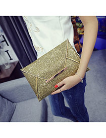 Fashion Gold Color Pure Color Decorated Envelop Shape Simple Handbag