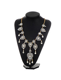 Fashion Gold Color Water Drop Shape Diamond Decorated Hollow Out Necklace