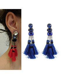 Fashion Sapphire Blue Tassel Pendant Decorated Pure Color Earrings
