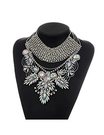 Fashion Multi-color Oval Shape Diamond Decorated Hollow Out Design Necklace