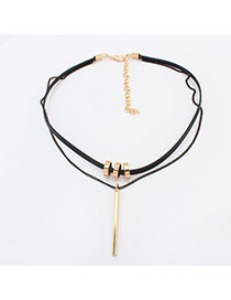 Fashion Gold Color Vertical Shape&hollow Out Round Shape Pendant Decorated Double Layer Necklace