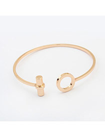 Fashion Gold Color Hollow Out Round Shape Decorated Pure Color Bracelet