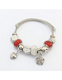 Fashion Red+silver Color Hear&flower Pendant Decorated Color Matching Bracelet