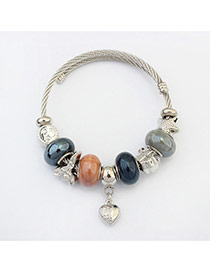Fashion Dark Blue Hear&beads Pendant Decorated Color Matching Bracelet
