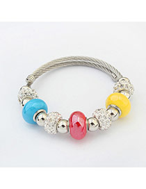 Fashion Blue Hollow Out Round Shape Decorated Color Matching Bracelet