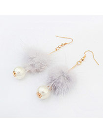 Elegant Light Gray Pearl&hairy Ball Shape Pendant Decorated Pure Color Earring