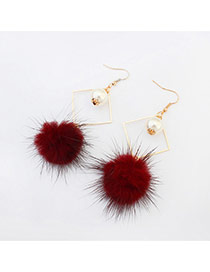 Elegant Red Hairy Ball Shape Pendant Decorated Rhombus Earring