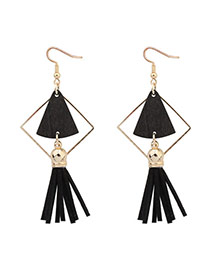 Fashion Black Fan Shape Decorated Hollow Out Tassel Simple Earrings