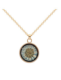 Fashion Light Blue Flower Decorated Simple Long Chain Necklace