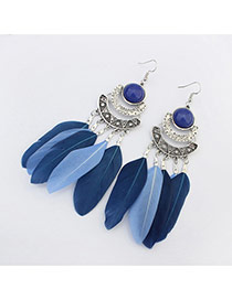 Elegant Blue Feather Tassel Pendant Decorated Simple Earring