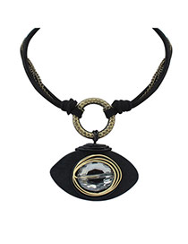 Vintage Black Eye Shape Pendant Decorated Multilayer Necklace