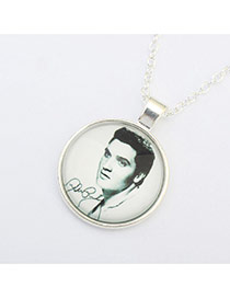 Retro Silver Color Man Pattern Decorated Simple Necklace