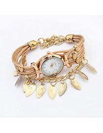Sweet Gold Color Leaf Tassel Pendant Decorated Multilayer Watch