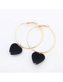Sweet Black Heart Shape Pendant Decorated Simple Earring