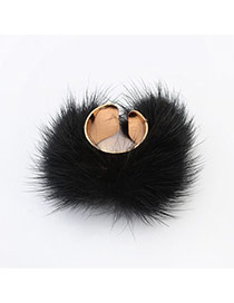Sweet Black Hairy Decorated Pure Color Opening Ring