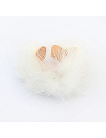 Sweet White Hairy Decorated Pure Color Opening Ring