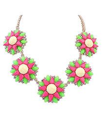 Fashion Plum Red Water Drop Diamond Decorated Flower Shape Design Necklace