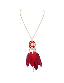 Fashion Red Feather Pendant Decorated Color Matching Design Necklace