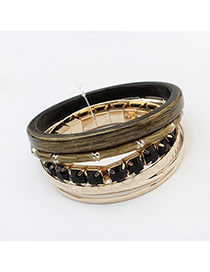 Fashion Multi-color Diamond Decorated Multi-layer Color Matching Bracelet