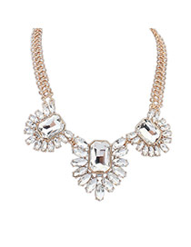 Fashion White Square Shape&oval Shape Diamond Decorated Simple Short Chain Necklace
