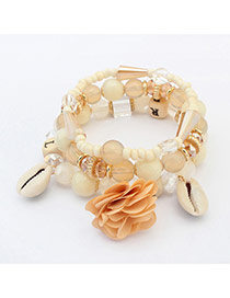Bohemia Beige Flower&shell Pendant Decorated Simple Multilayer Bracelet