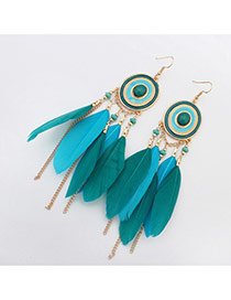 Bohemia Green Metal Round Shape Decorated Feather Simple Earrings