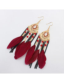 Bohemia Dark Red Feather &chain Pendant Decorated Simple Earrings