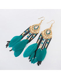 Bohemia Green Feather &chain Pendant Decorated Simple Earrings