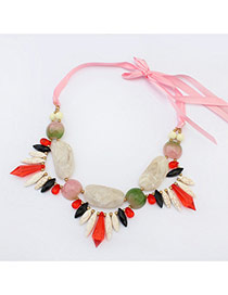Fashion Pink Irregular Shape Gemstone Decorated Color Matching Simple Necklace