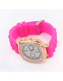 Fashion Plum Red Diamond Decorated Pure Color Strape Simple Watch
