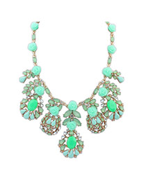 Fashion Green Flowers&diamond Decorated Pure Color Simple Necklace