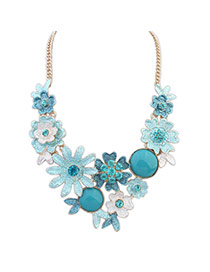 Fashion Blue Flowers Decorated Color Matching Simple Necklace