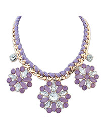 Elegant Purple Flower Shape Decorated Pure Color Simple Necklace