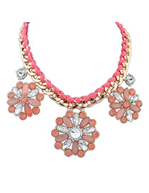 Elegant Red Flower Shape Decorated Pure Color Simple Necklace