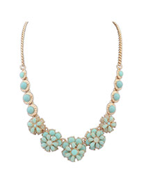 Personalized Light Blue Flower Shape Decorated Pure Color Simple Necklace