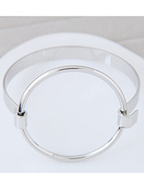 Fashion Silver Color Round Shape Decorated Pure Color Design Bracelet